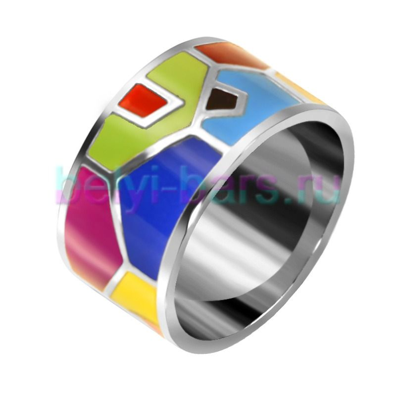 Кольцо с цветной эмалью Шик купить в интернет-магазине ...