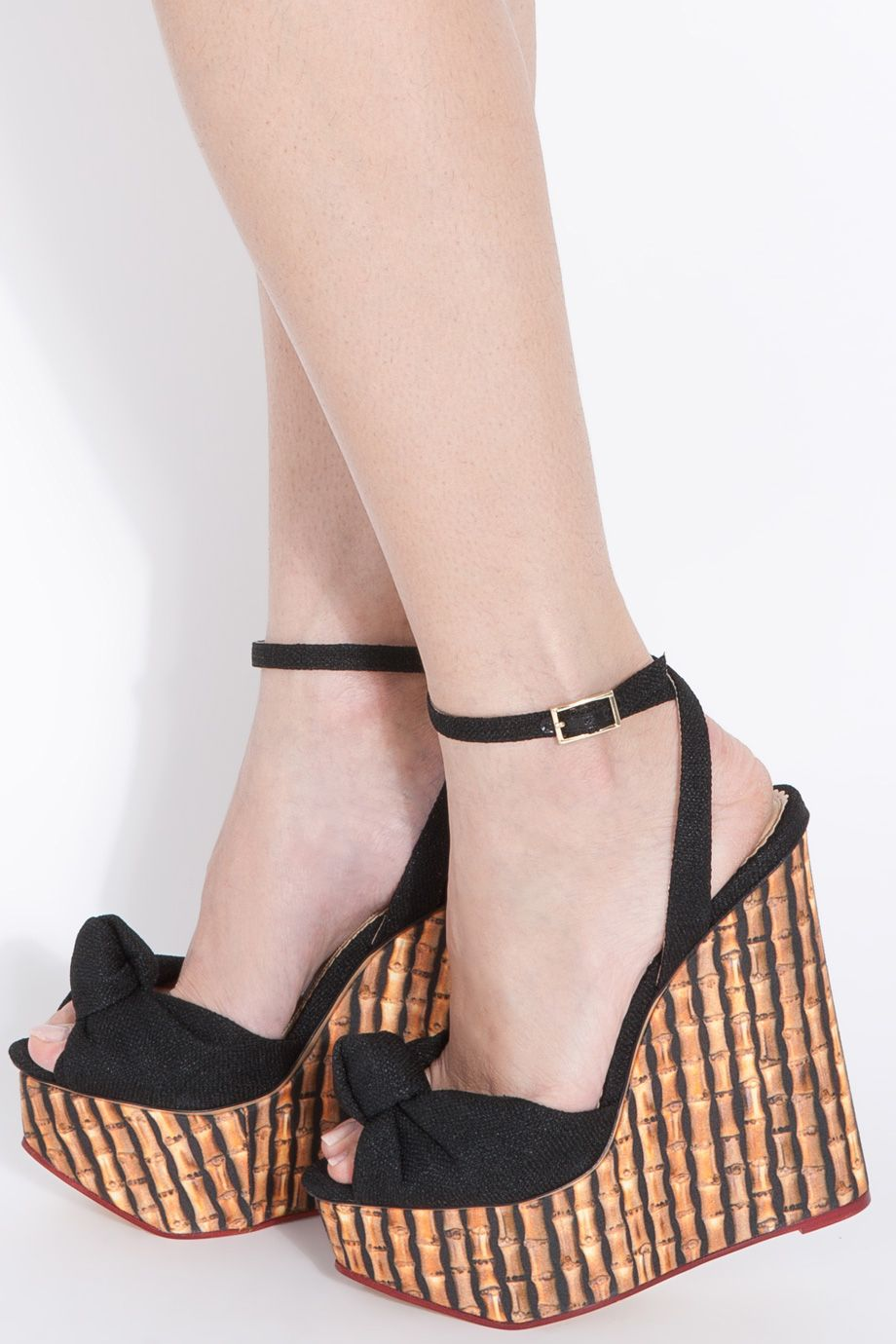 ab95fbff69b6 Charlotte Olympia Bamboo Wedge Linen Sandals in Black (multi)