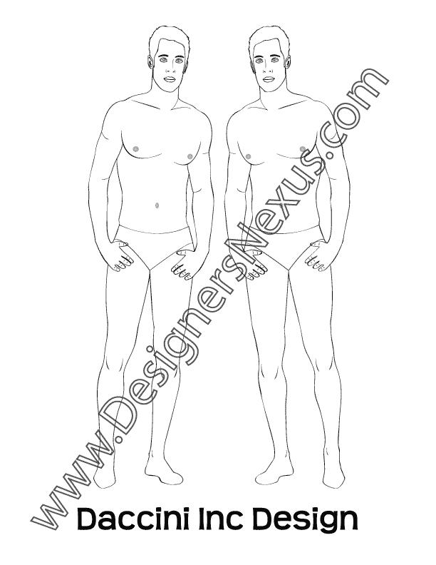 This free mens fashion croqui shows a male fashion figure