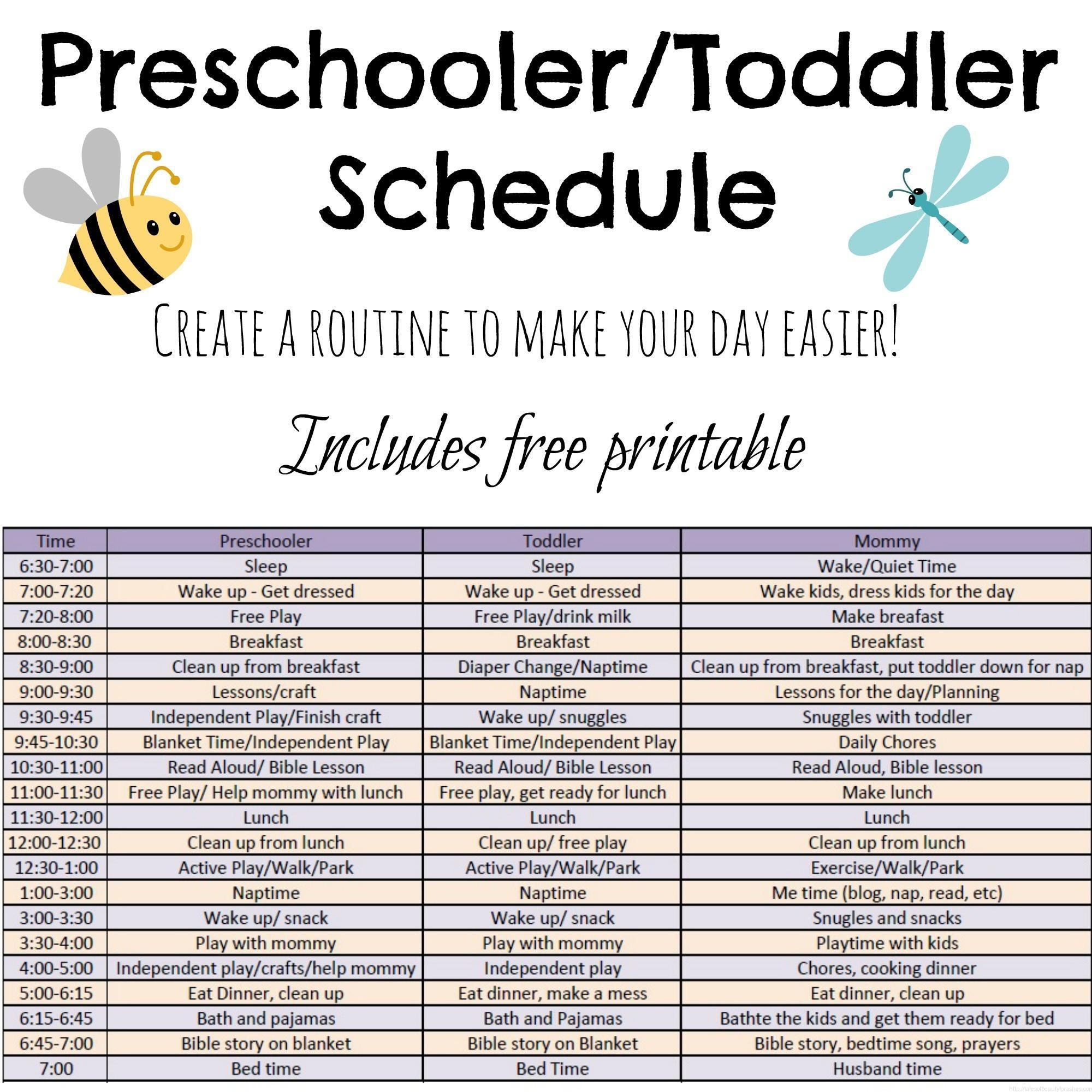 includes ideas and a free printable schedule for preschoolers and