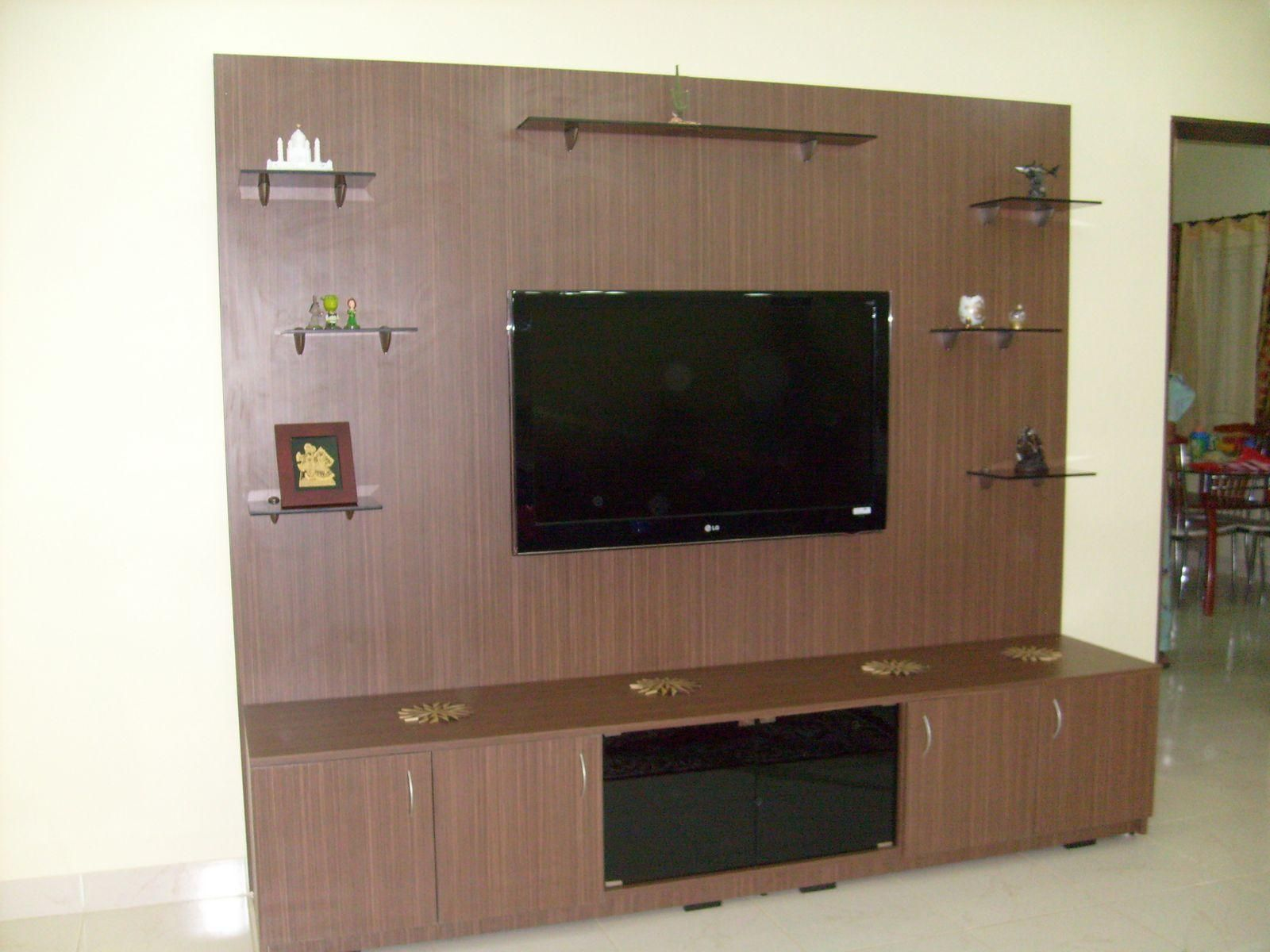 Beautiful Dark Brown Wood Glass Modern Design Wall Unit