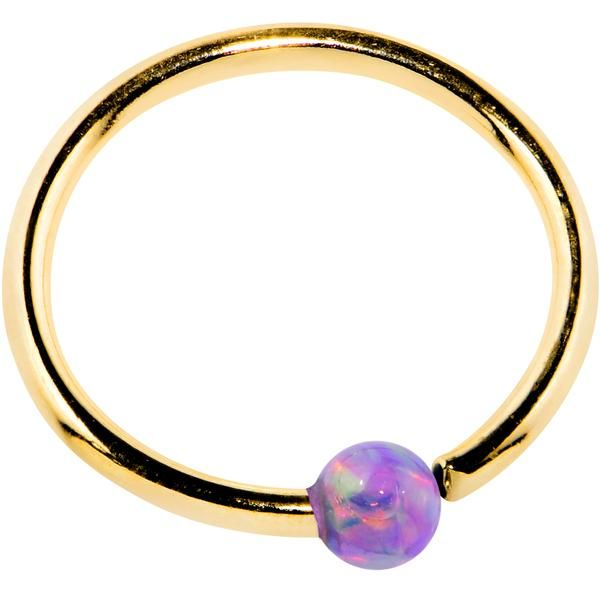 20 Gauge 14k Yellow Gold Purple 2mm Synthetic Opal Captive Ring