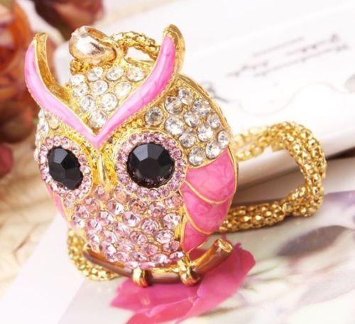Brillant pendentif   PINK OWL  hibou émail rose et strass offert avec sa chaine