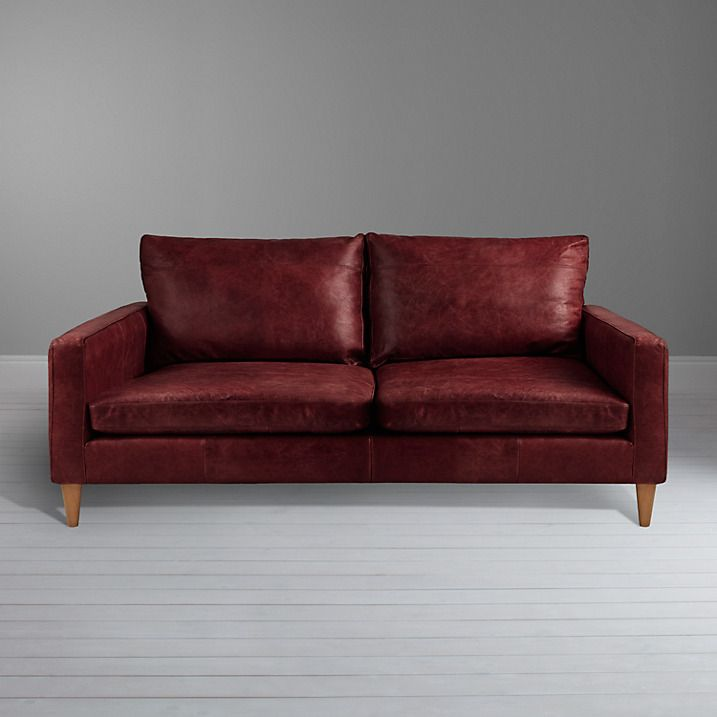 Buy John Lewis Bailey Small Leather Sofa, Old Saddle Oxblood Online At  Johnlewis.com