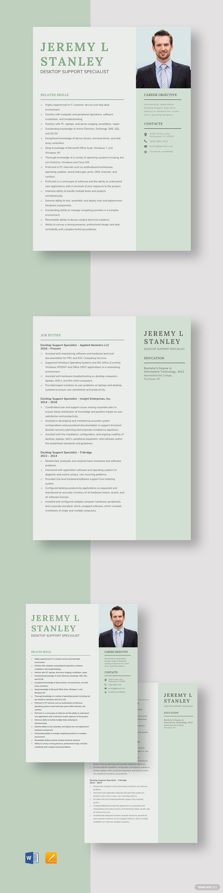 Desktop support specialist resume template in 2020