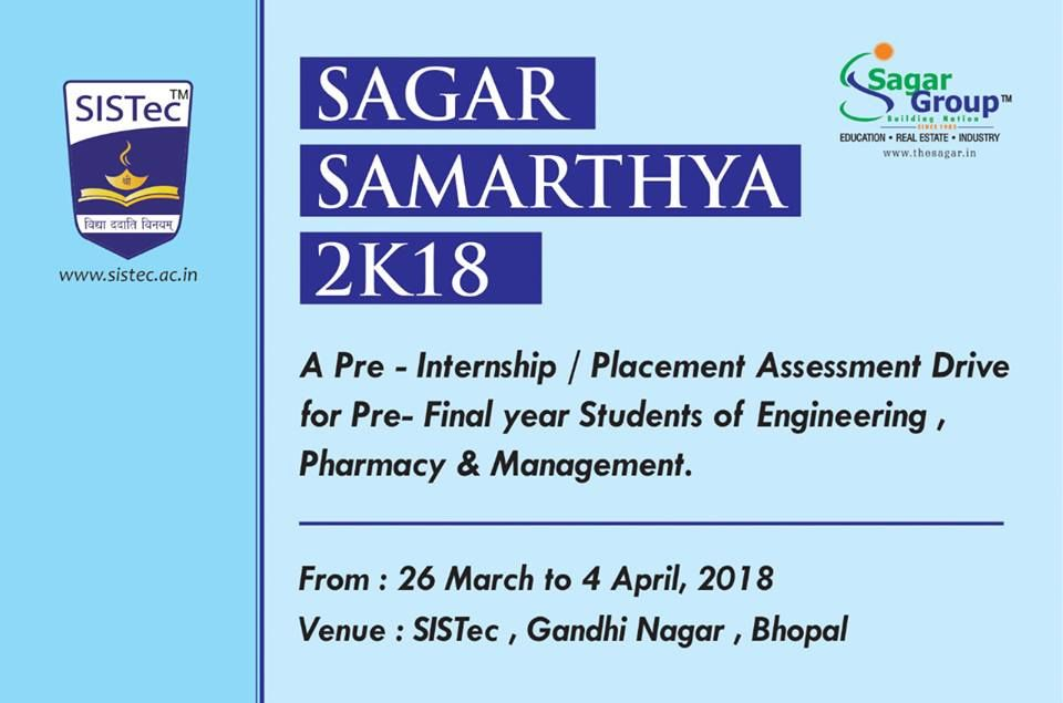#SAGARSAMARTHYA: A Pre-Internship/Placement Assessment Drive? #IndustrialInternship/Training is given high importance and made compul… (With ...