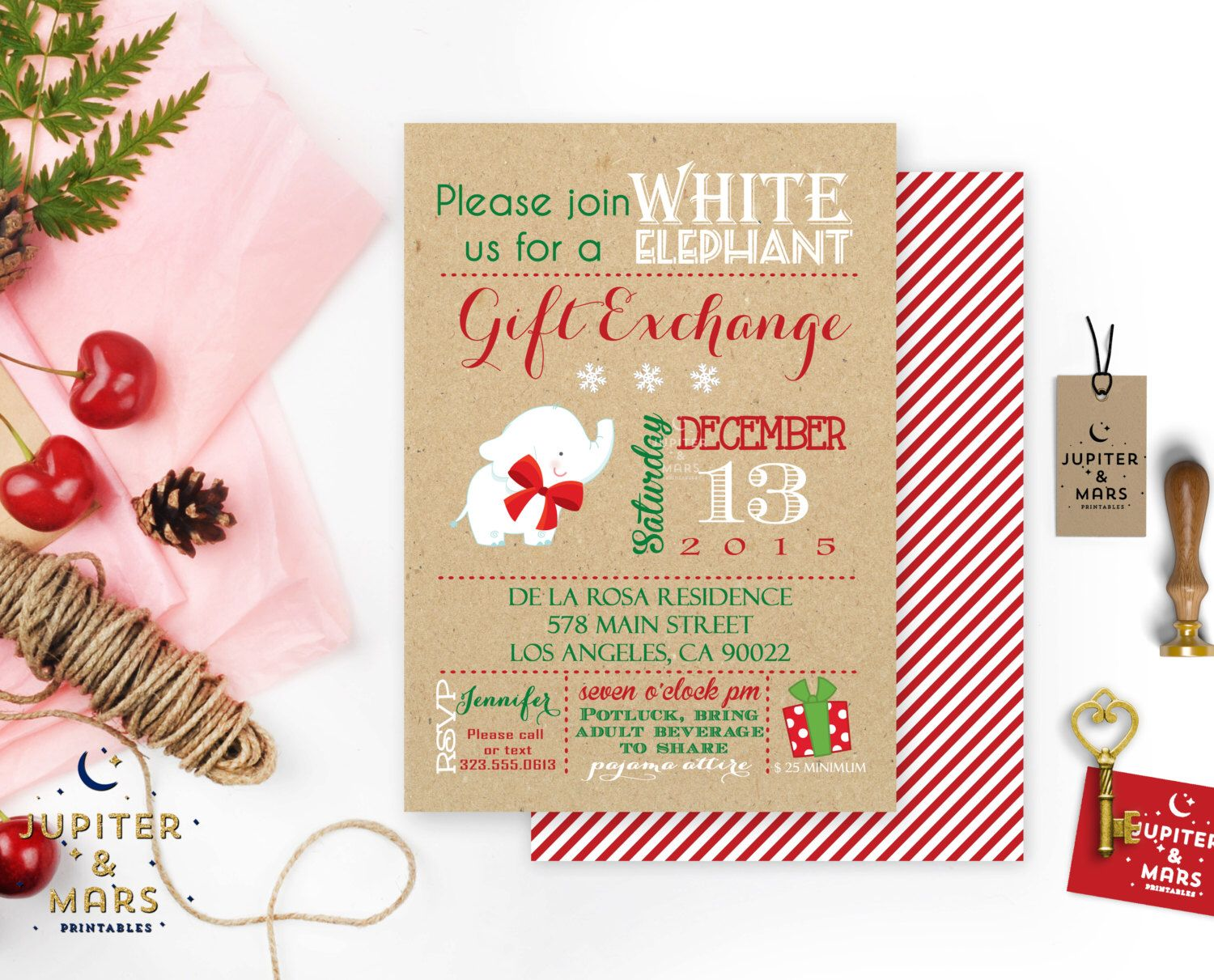 merry and bright white elephant gift exchange/holiday party, Party invitations