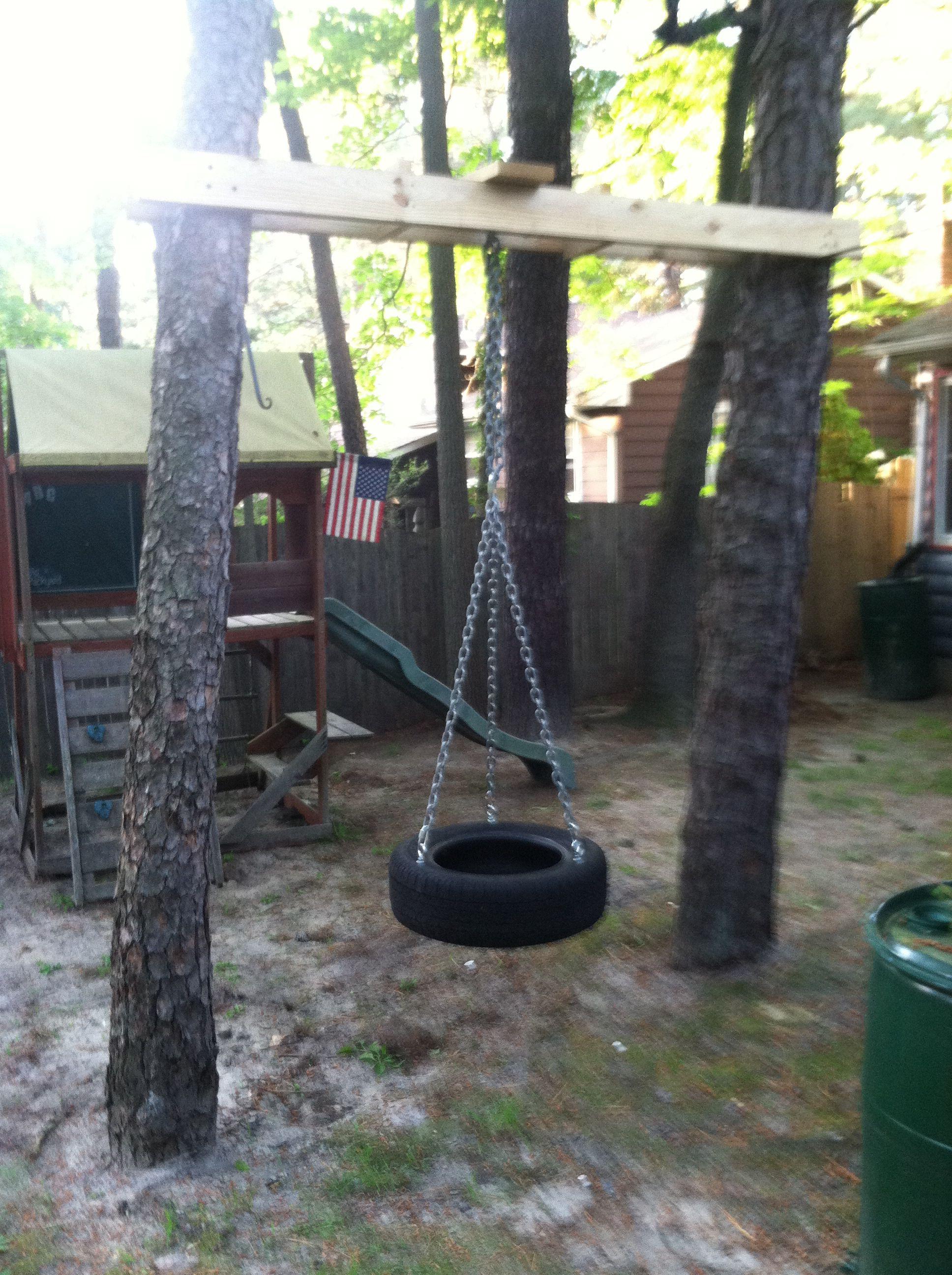 tire swing between two trees backyard ideas pinterest swings yards and backyard. Black Bedroom Furniture Sets. Home Design Ideas
