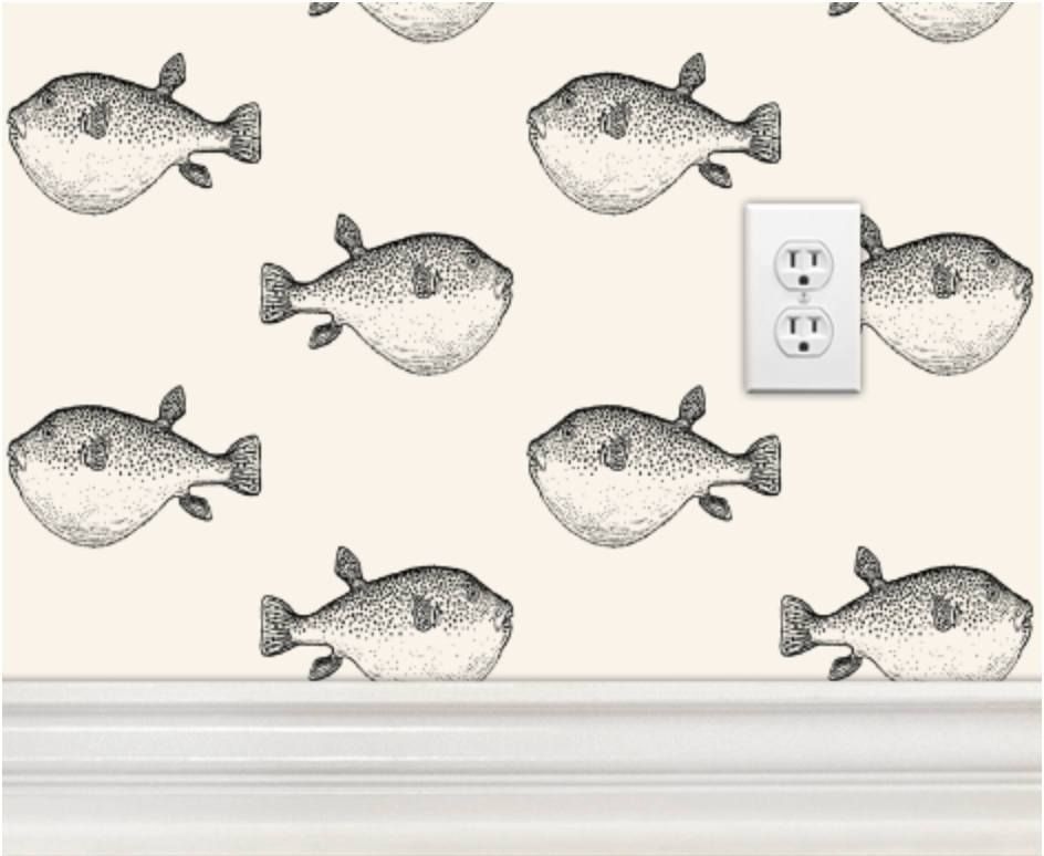 Pufferfish Puffer Fish Wallpaper Made In Usa Blowfish Blow Fish Wall Paper Peel Stick Self Adhesive Temporary Removable Black Ivory Cream With Images Fish Wallpaper Stick On Wallpaper Paper Fish