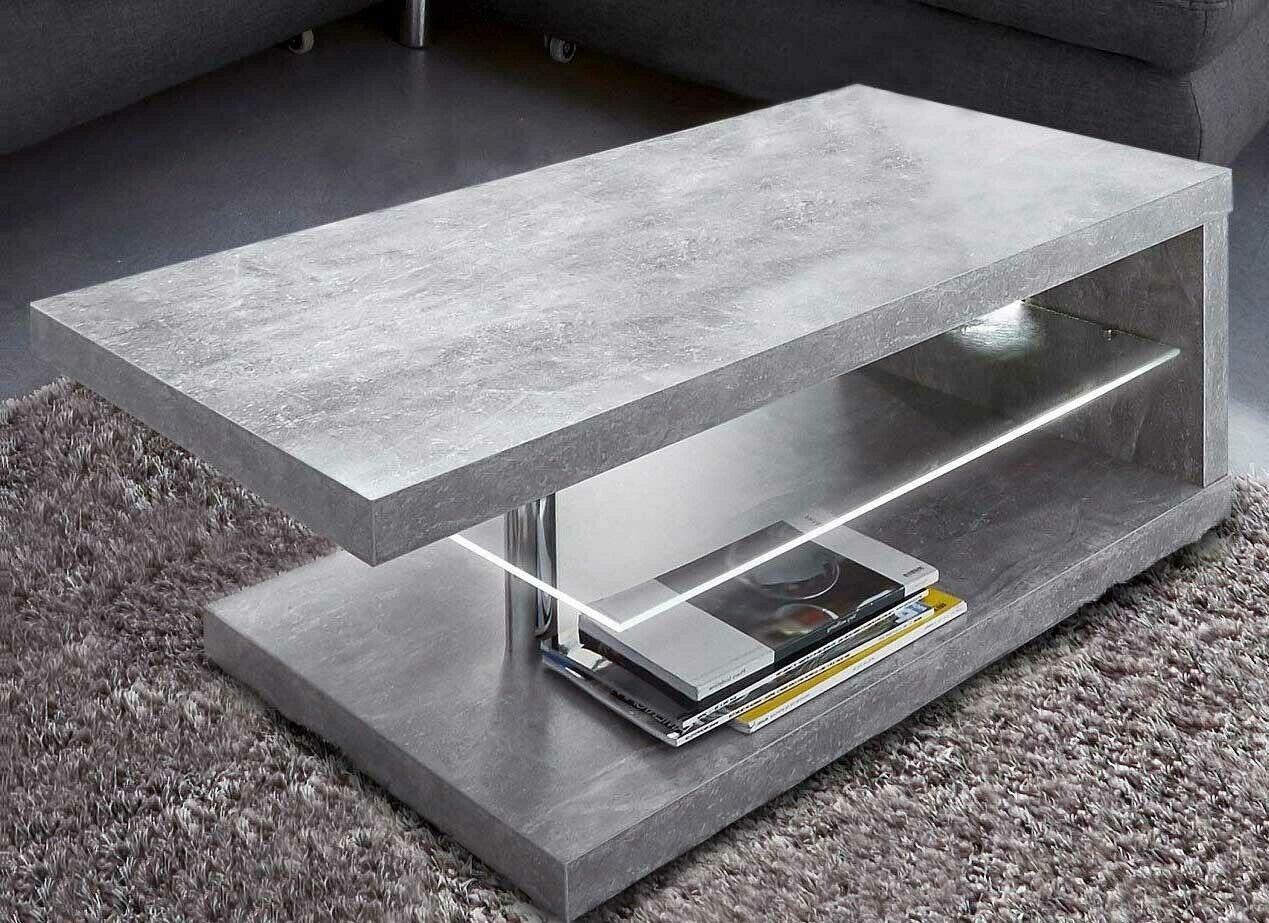 Couchtisch 107x67cm Steinfarben Led Beleuchtung Modern Wohnzimmertisch 320981 In 2020 Wohnzimmertisch Tisch Couchtisch