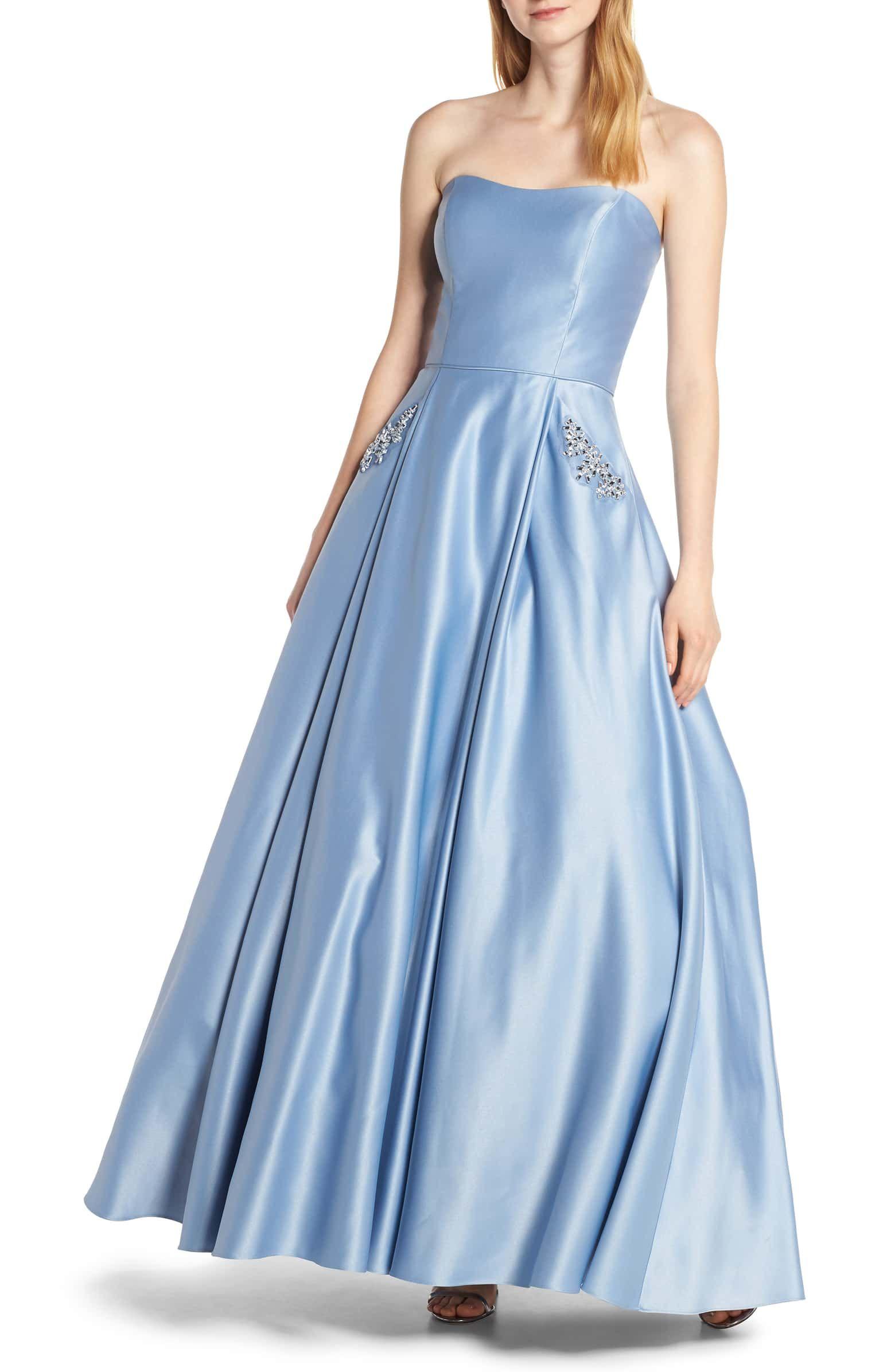 Blondie Nites Strapless Embellished Pocket Satin Evening Dress Nordstrom Floral Evening Dresses Evening Dresses Women S Evening Dresses [ 2392 x 1560 Pixel ]