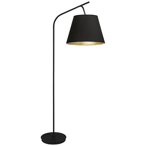 Walker 75 High Black With Black And Gold Shade Floor Lamp 1f403 Lamps Plus Arc Floor Lamps Black Floor Lamp Decorative Floor Lamps