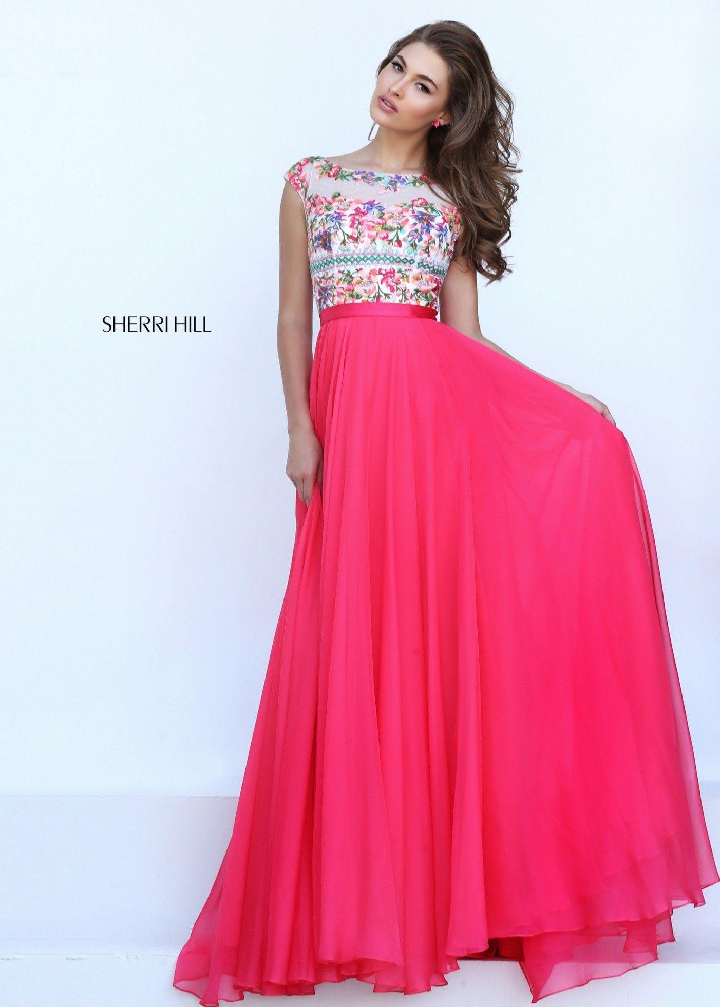Sherri hill open back flowy chiffon dress pretty in pink