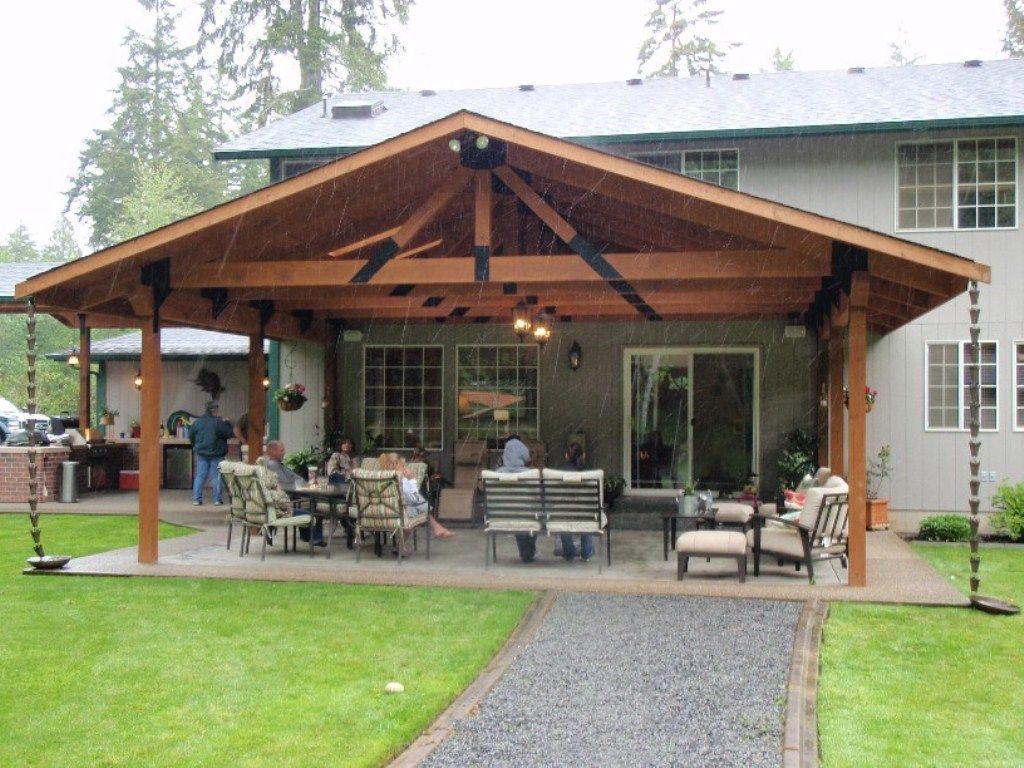 Backyard covered patio pictures with lounge space and for Ideas for covered back porch on single story ranch
