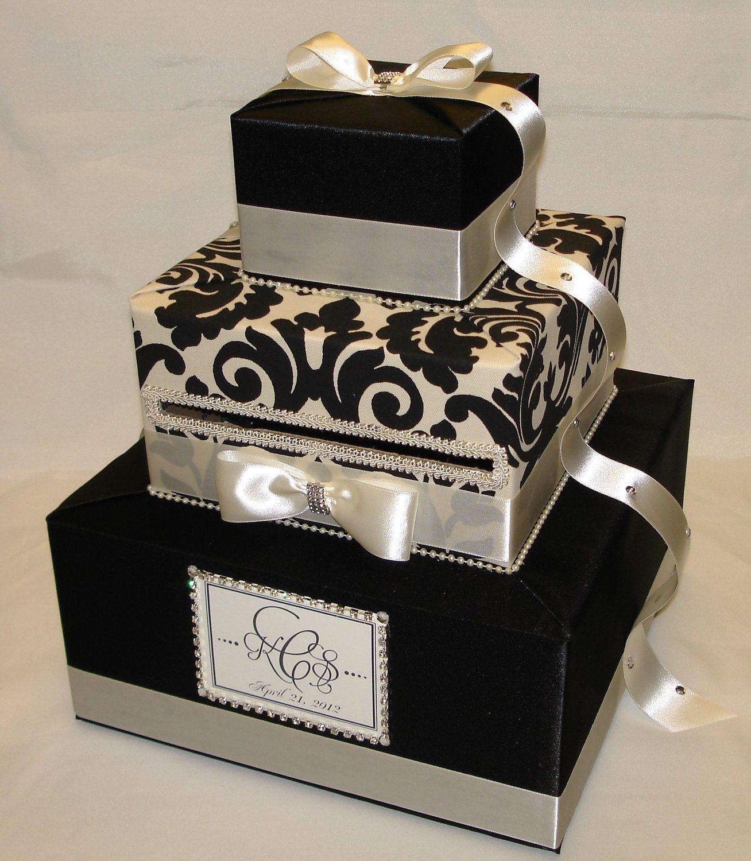 Elegant gold damask wedding card box rhinestone accents