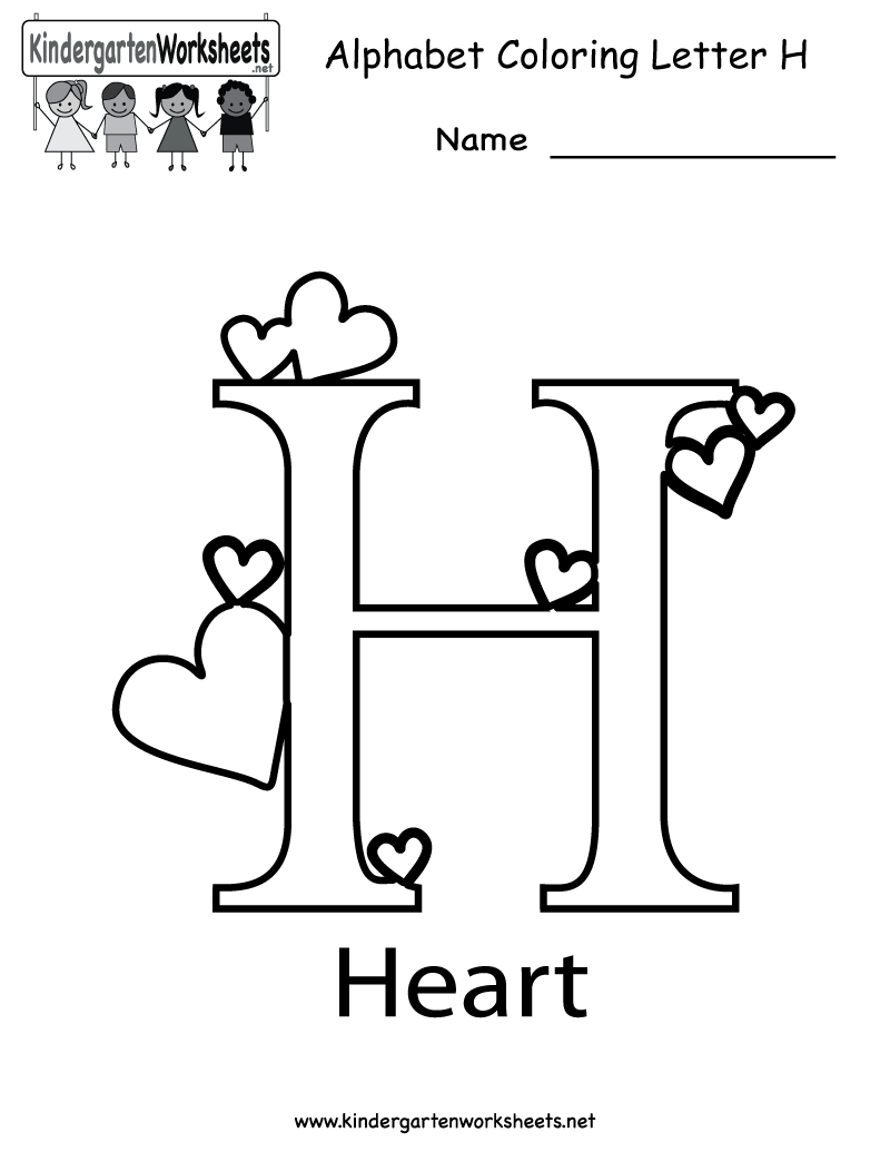 Kindergarten Letter H Coloring Worksheet Printable
