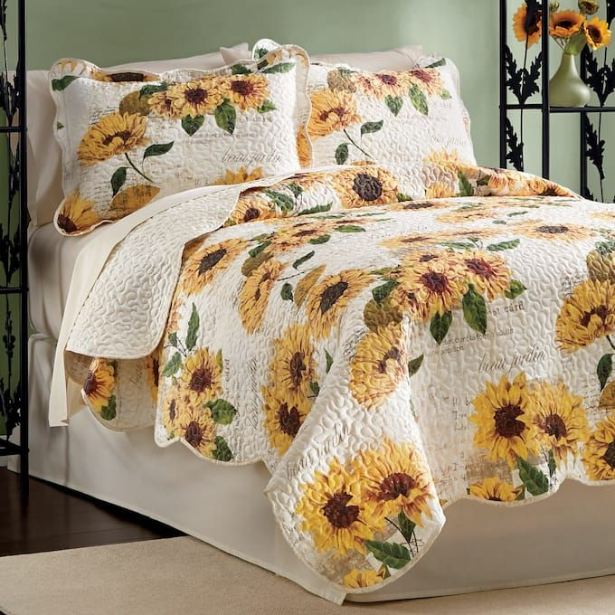 Sunflower Script Quilt and Sham from Ginny's