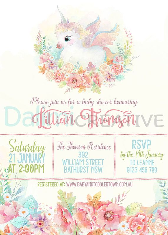 horse baby shower invitation pink and gold | unicorn baby shower, Baby shower invitations