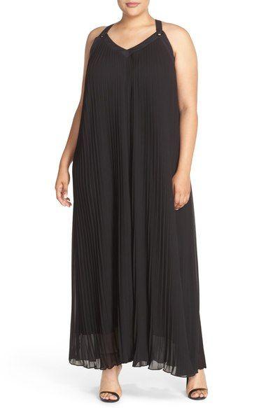 MICHAEL Michael Kors Grommet Detail Pleat Maxi Dress (Plus Size) available at #Nordstrom