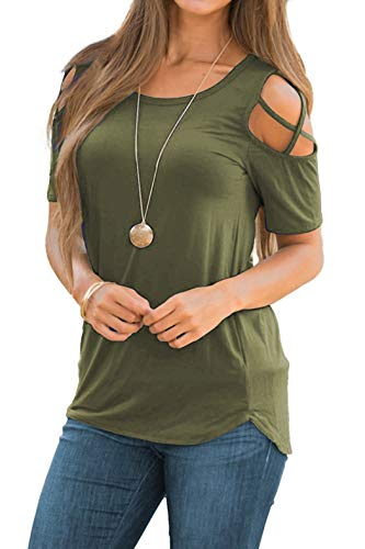 Womens Short Sleeve Solid Color Tops Summer Slim Strappy T Shirt Blouse