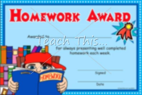 homework award printable classroom student awards and certificates
