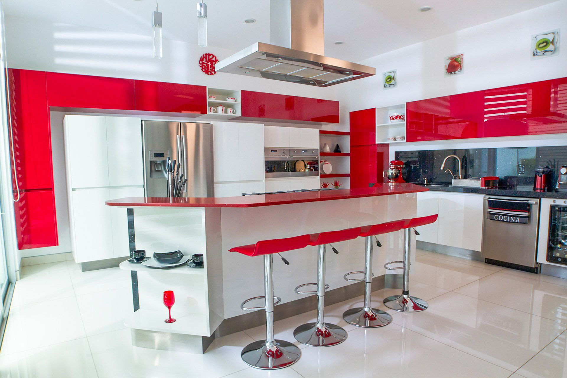 How Fun Is This Vibrant Red Glossy Color Shop This Look By Looking At Our Rauvisio Brilliant Acrylic Surfaces In 2020 High Gloss Kitchen Rehau Custom Cabinet Doors