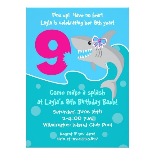 Girl Shark Bite Invite 9th Birthday Party Invitation In 2018