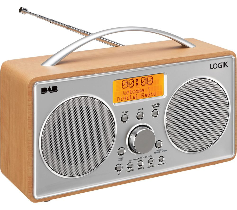logik l55dab15 portable dab clock radio silver wood silver price enjoy great. Black Bedroom Furniture Sets. Home Design Ideas