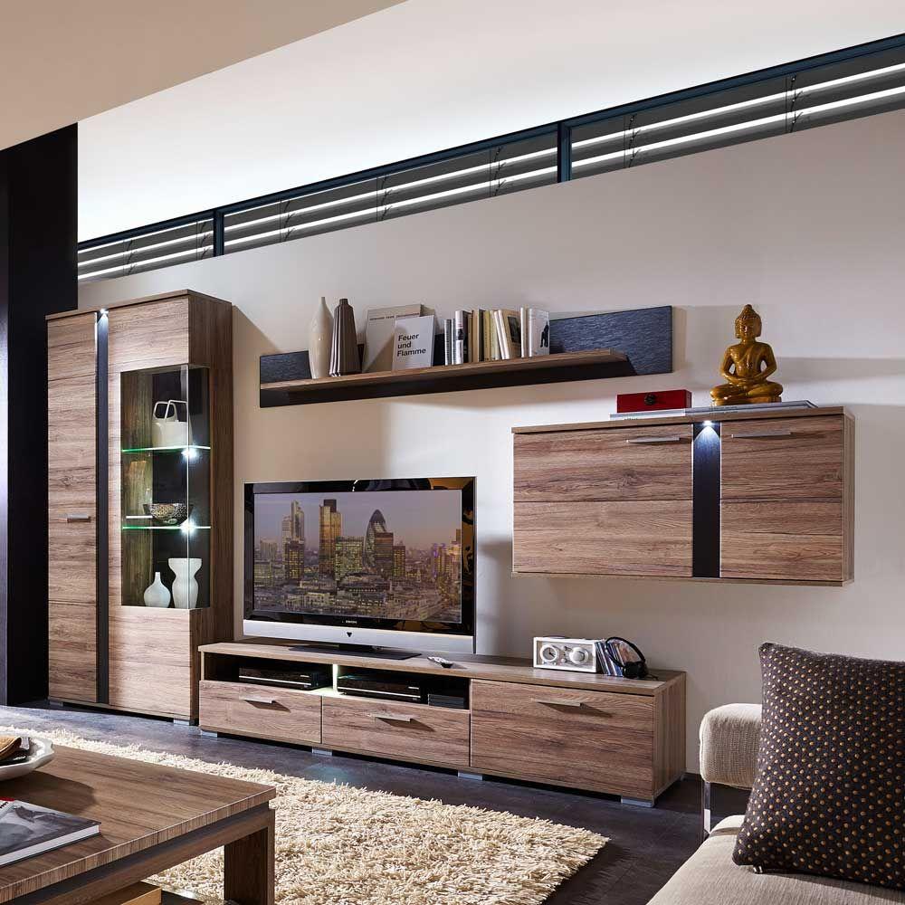 Wohnzimmer Wohnwand Mit LED Beleuchtung Eiche San Remo Schiefer 4 Teilig Jetzt Bestellen Unter Moebelladendirektde Schraenk
