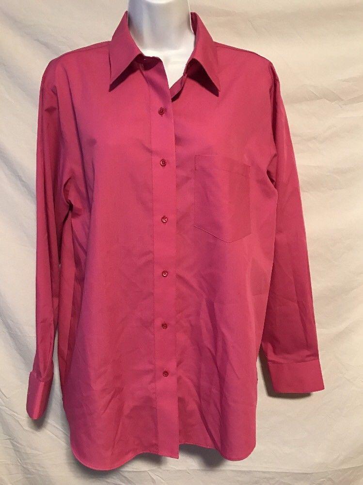 68a4d4f40 Foxcroft Women 12 Medium Large Dark Mauve Pink Wrinkle Free Button Down  Shirt | eBay