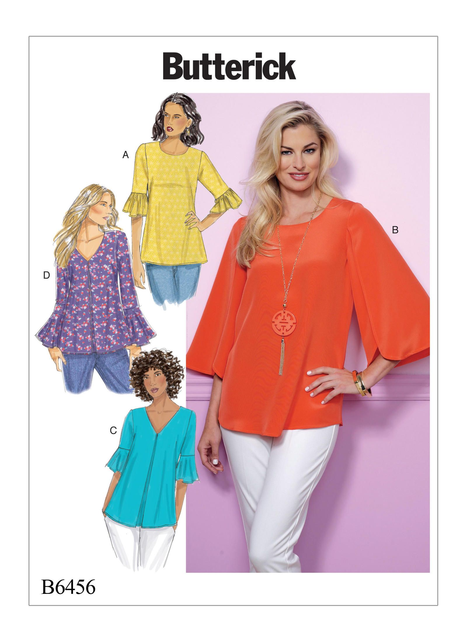 ac9484e9 Butterick 6456 Misses' Tulip or Ruffle Sleeve Tops | Sew It Up ...