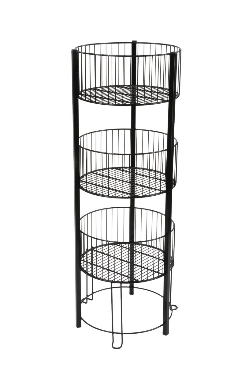 Wood And Metal Basket 3 Tier Stand Floor Baskets Bathroom Floor Storage Tiered Basket Stand