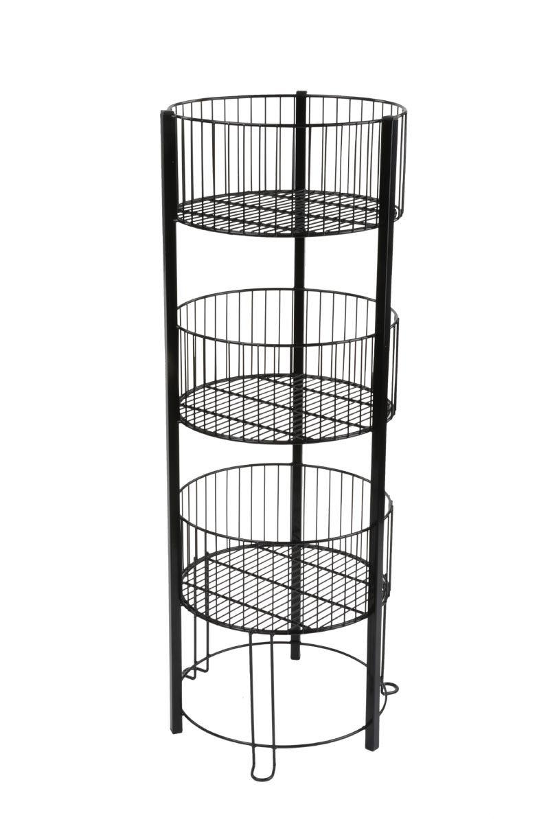 Round Tiered Wire Dump Bin Floorstanding 3 Baskets Black