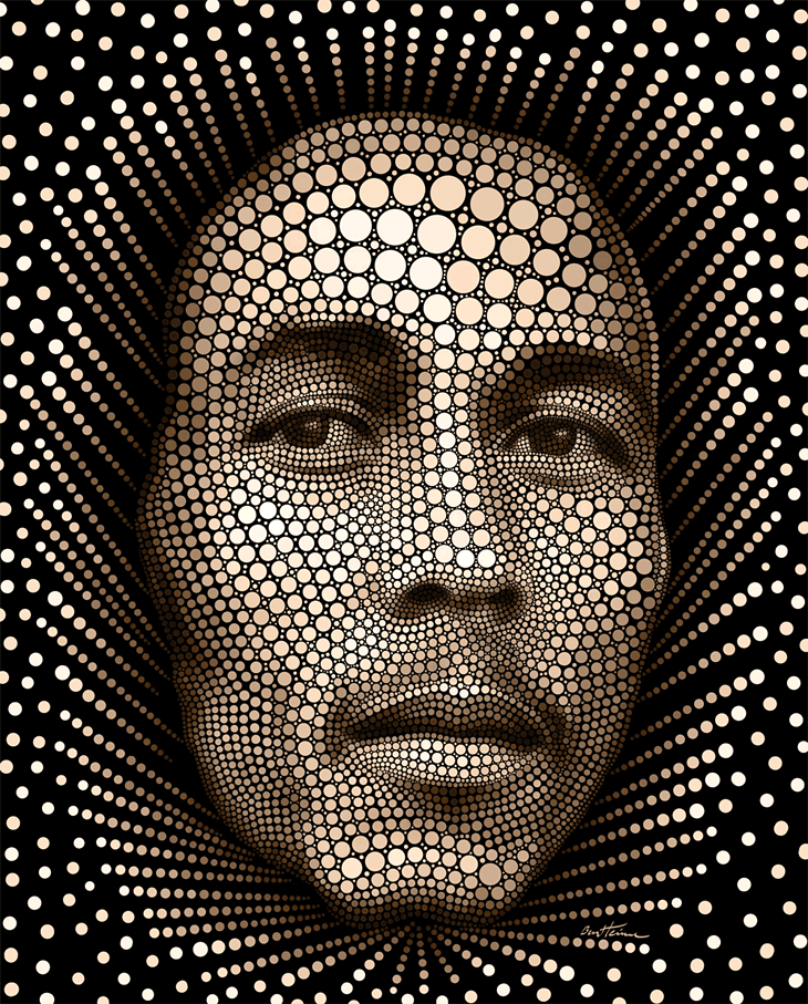 A Modern Artistic Expression Or A Mix Of Pop Art And Pointillism Ben Hein Developing This Technique In Photoshop By Unders Bob Marley Art Bob Marley Ben Heine