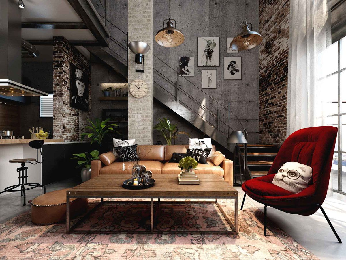 Rich Industrial Style Unites Jewel Colours With Exposed Brick