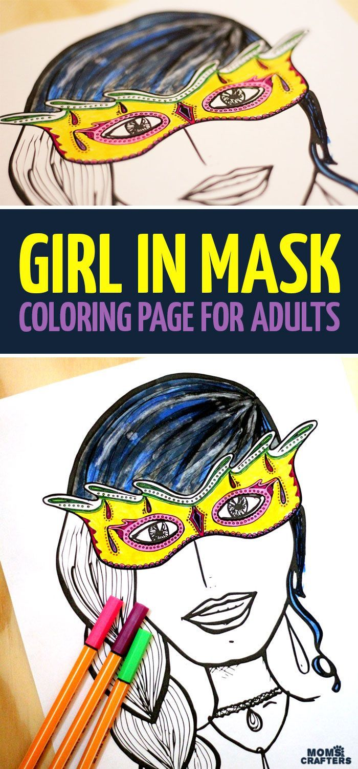 Grab this Girl in Mask coloring page for adults