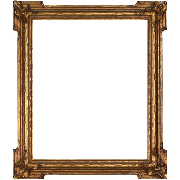 Arts and Crafts frame, pie crust, gesso designs at each corner, 24 ...