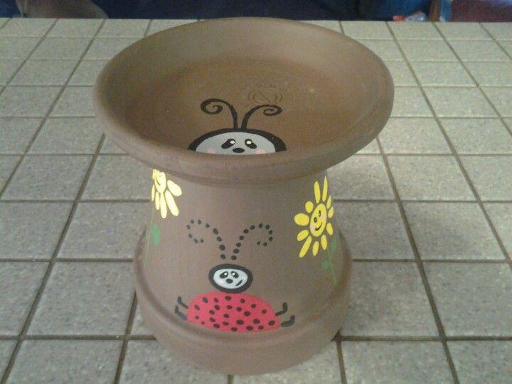 Clay pot mini birdfeeder or candle holder.