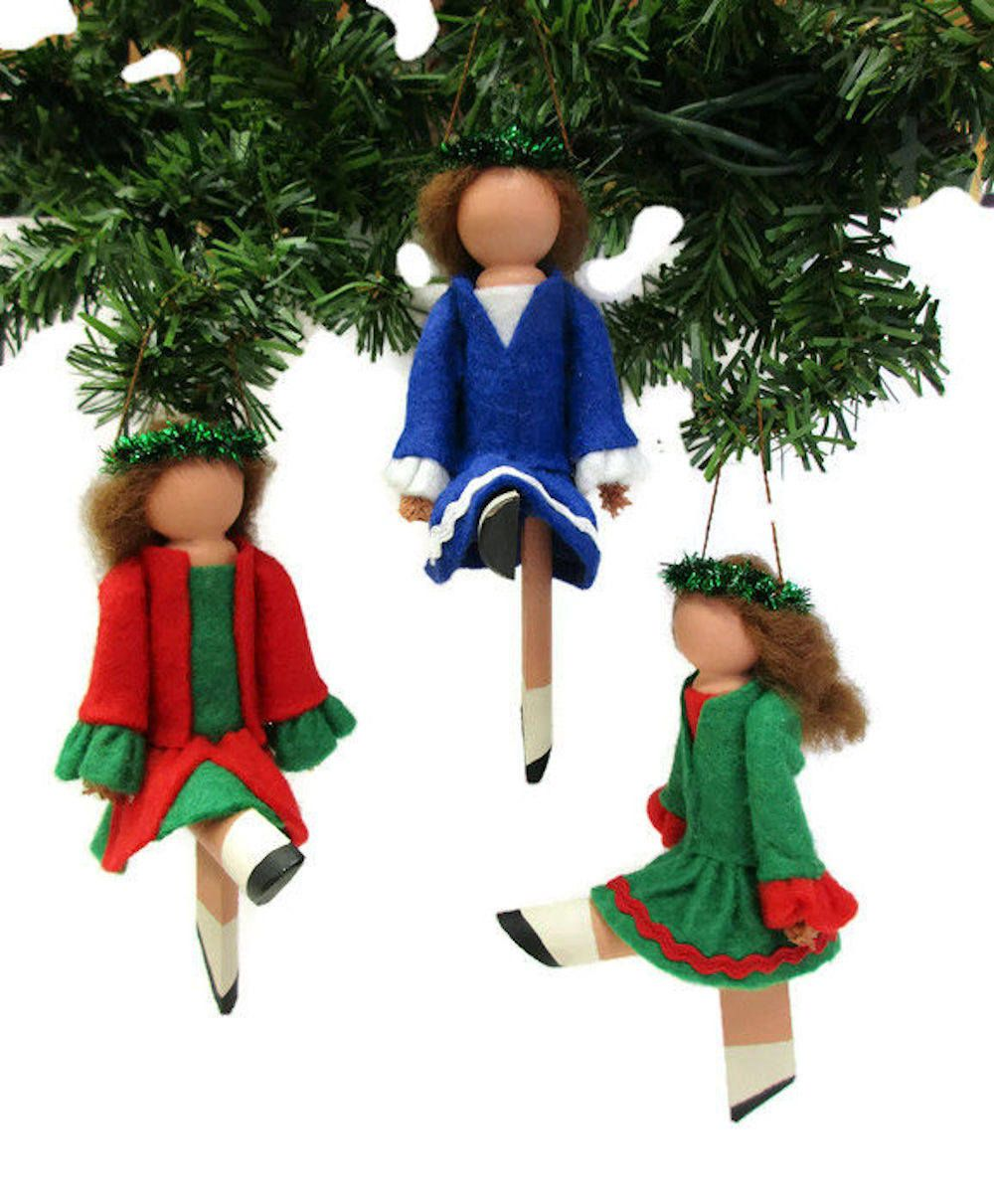 Irish Dancer Christmas Ornament, Clothespin Ornament, Peg Doll ...