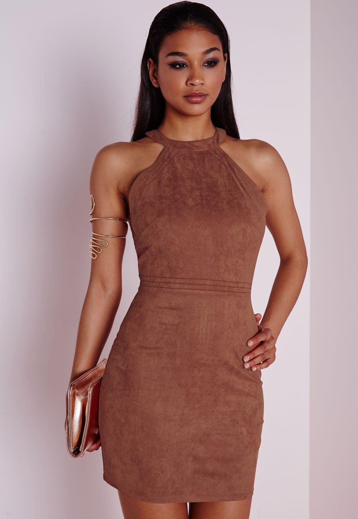 Faux Suede Topstitch Bodycon Dress Tan Dresses Bodycon Dresses Bodycon Dress Unique Prom Dresses Fashion [ 1680 x 1160 Pixel ]