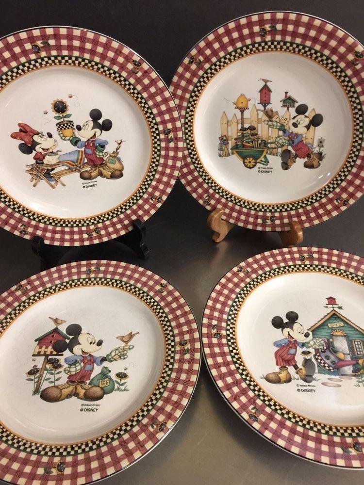 Disney Mickeys Garden Plates Debbie Mumm Sakura Set of 4 Dessert Luncheon Size #Sakura & Disney Mickeys Garden Plates Debbie Mumm Sakura Set of 4 Dessert ...