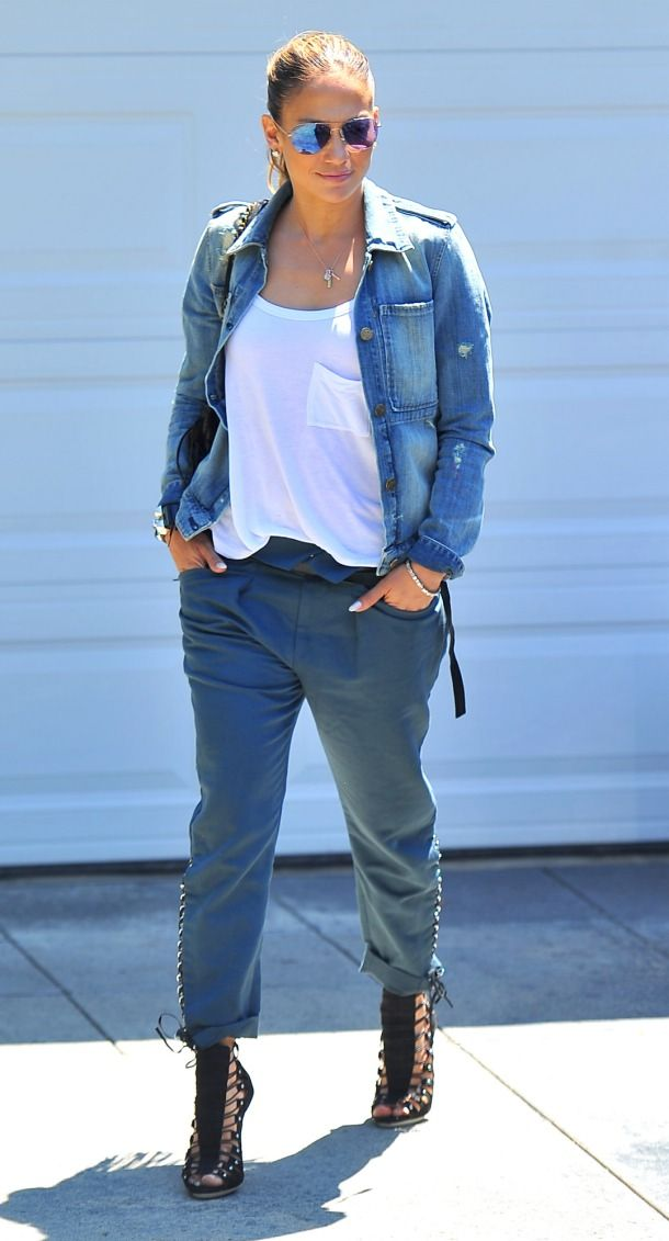 fa4764abb68e Jennifer Lopez in McGuire denim jacket  summer