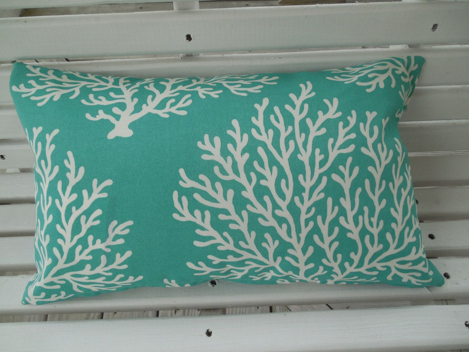 Beach Coral Outdoor Pillow Cover Teal Aqua Navy Coastal Patio Porch  Decorative Cushion Nautical Deck Decor