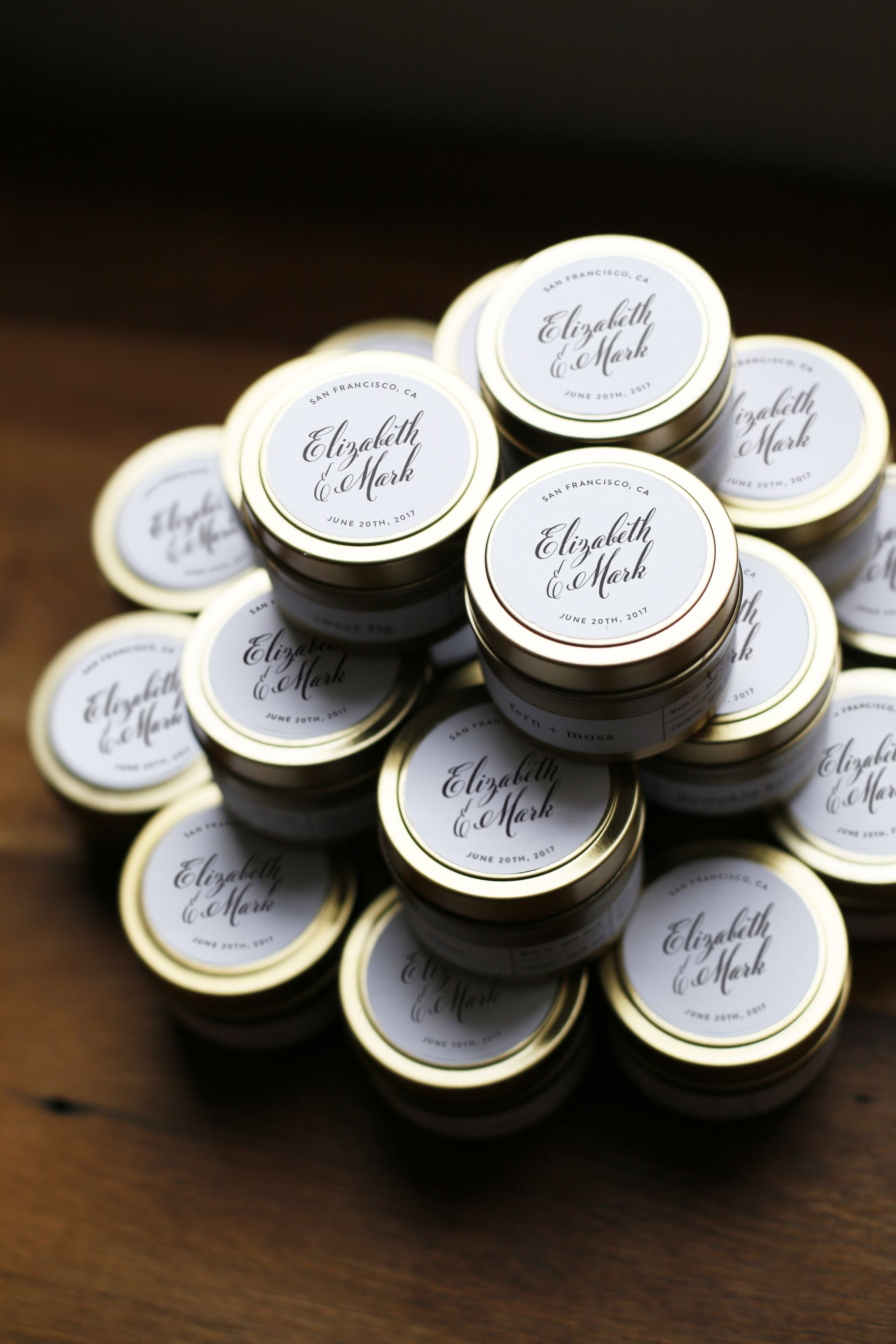 Custom Hand Lettered Gold Wedding Candle Favors By Brooklyn Studio Brooklyncandlestudio