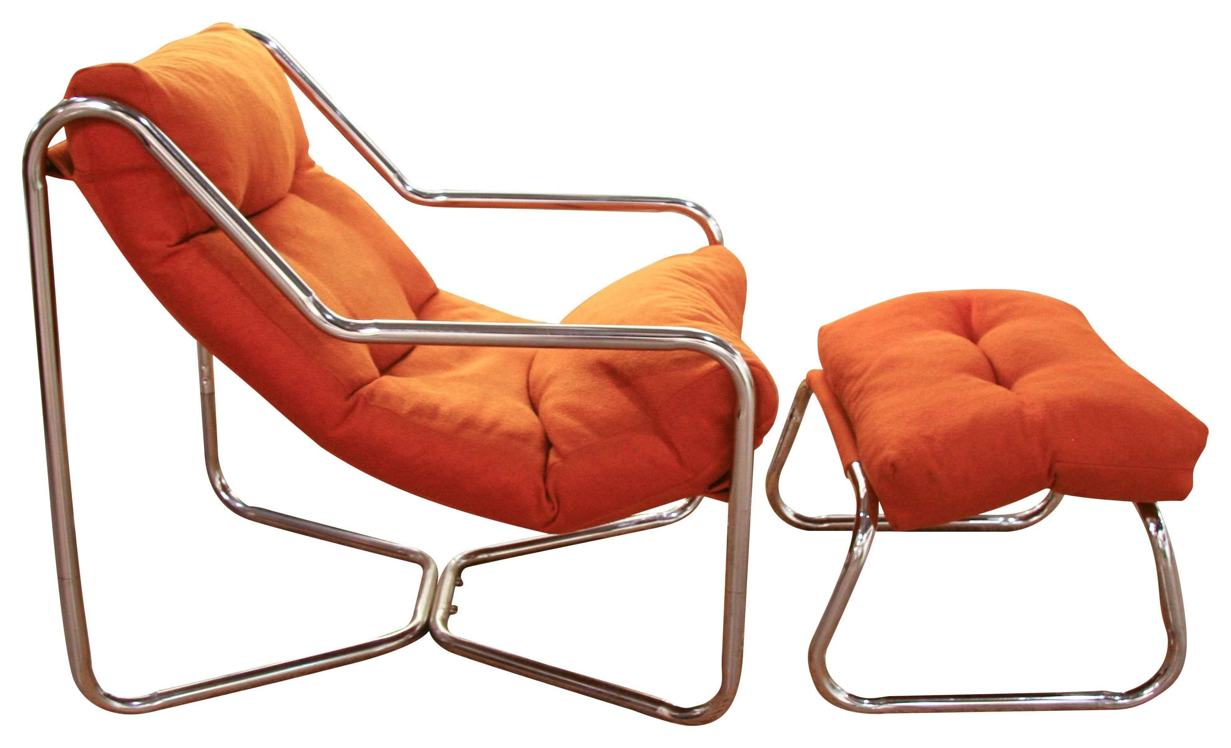 Mid Century Orange Chrome Sling Chair $390 Seating