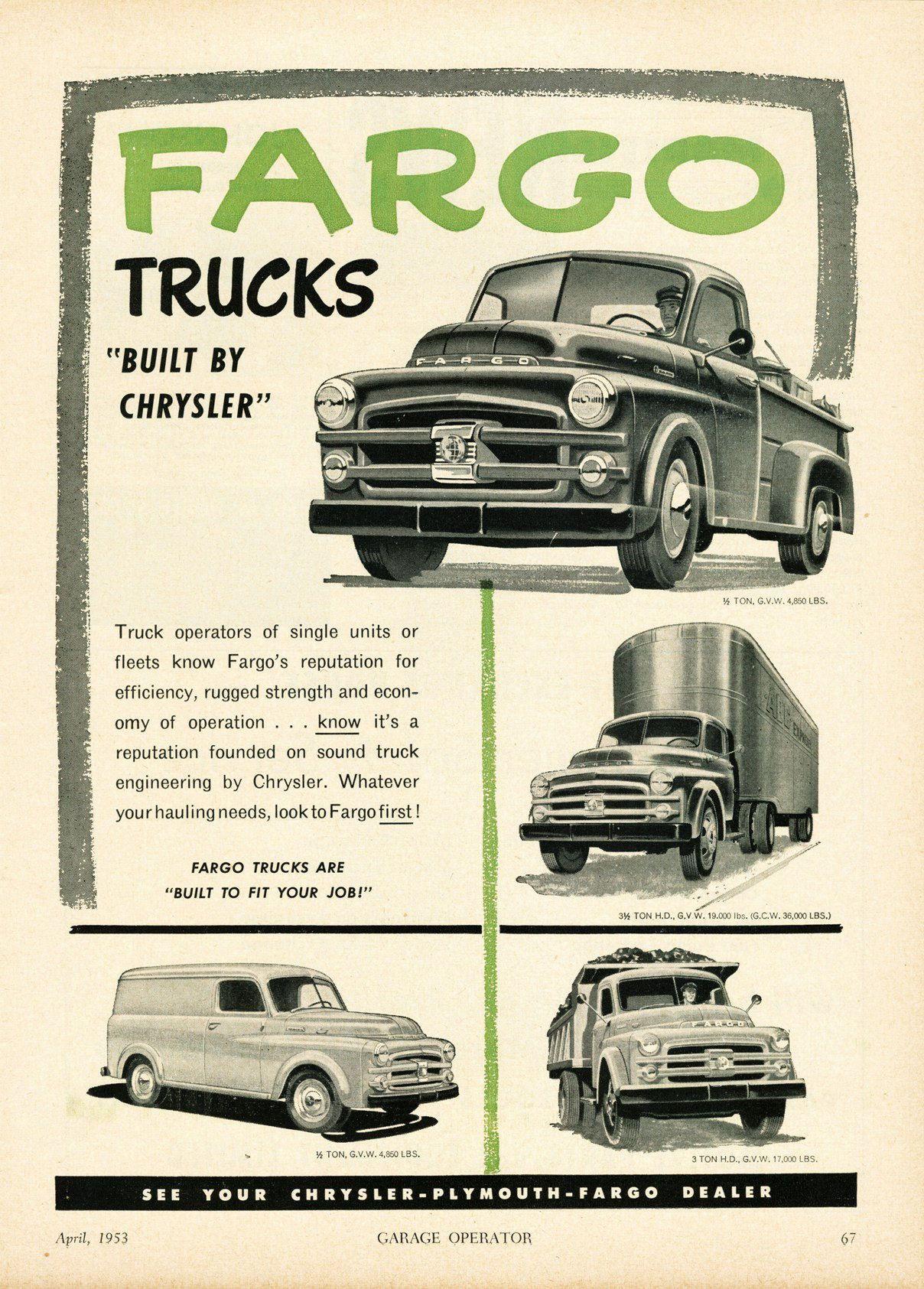 1953 Fargo Truck Ad-01 | Ideas 4 \'52 Dodge Pilot House | Pinterest ...