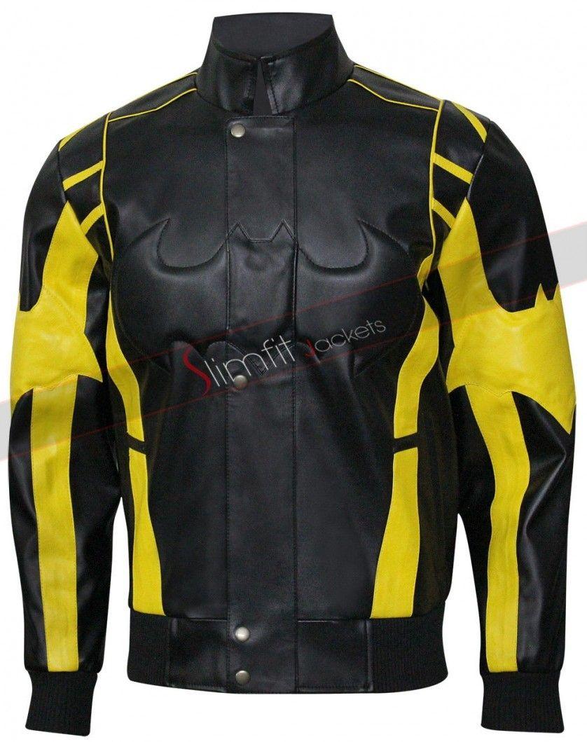 X Batman Black Yellow Leather Jacket Leather Jacket With Hood Striped Leather Jacket Jackets Men Fashion [ 1059 x 838 Pixel ]