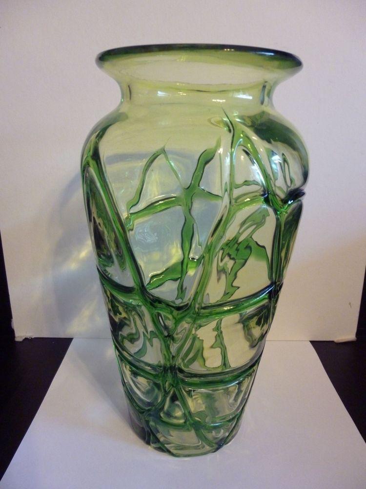Vintage Art Glass Vase Green Spider Web Pattern 11 5 Tall X 6 Wide Blue Art Glass Vase Vintage Art Glass Glass Art
