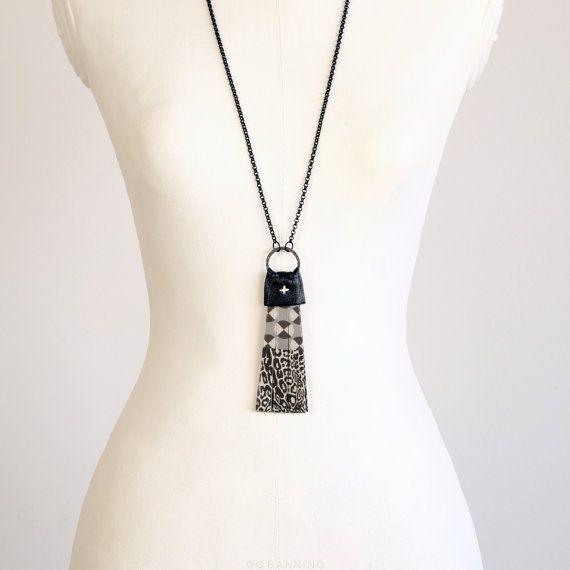 Tassel necklace black necklace long pendant by CBanningAccessories