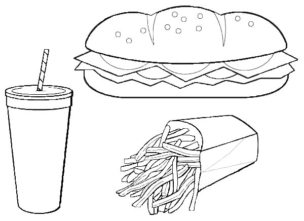 Eat Hot Dog And French Fries With Coke Junk Food Coloring Page Download Print Online Coloring Pages Fo Food Coloring Pages Coloring Pages Dog Coloring Page